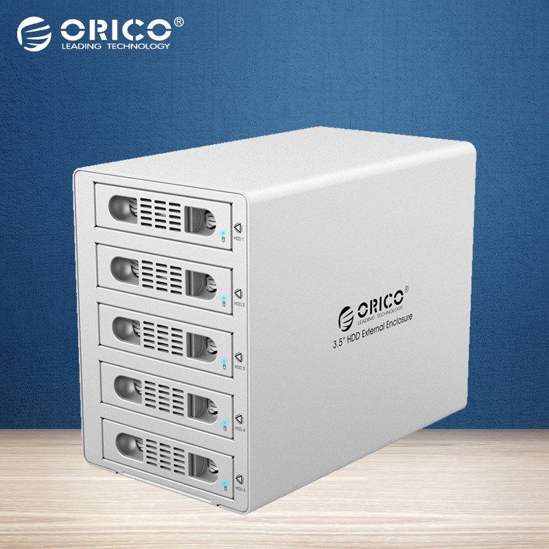 ORICO 3559RUS3 Tool Free Aluminum 5 Bay 40TB 3.5 SATA to USB3.0+eSATA HDD External Docking Station RAID Function 5Bay HDD Case