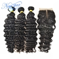 New star cabelo brasileiro onda profunda virgem do cabelo 3 pacotes com 1 parte do meio onda profunda lace closure