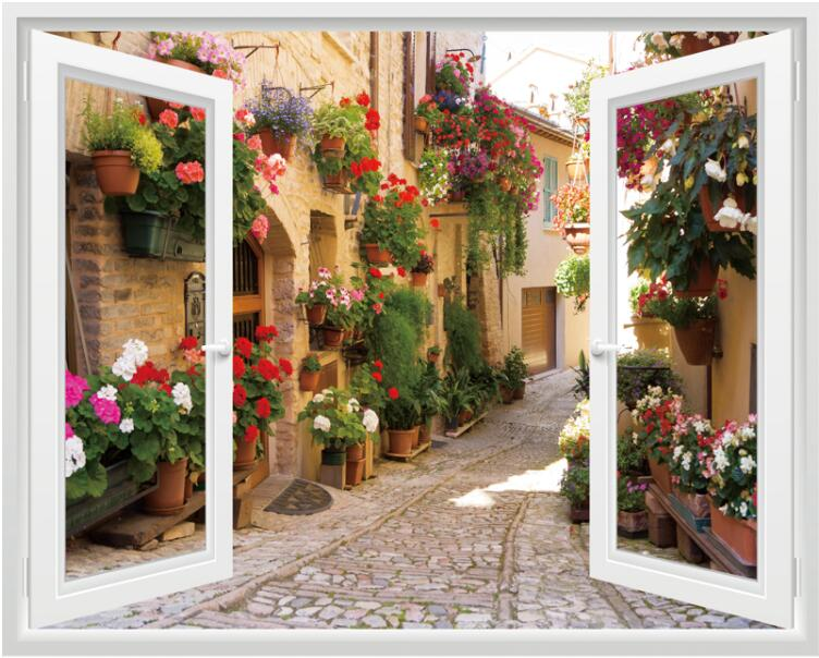 Creative simulation three dimensional fake window Literary house flowers landscape wall stickers living room home decoration