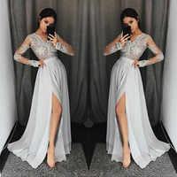 Real Photo Show Bridesmaid Dresses 2018 Sexy V neck Illusion Lace Appliques Floor Length Party Gowns Robe De Soiree Prom Dress