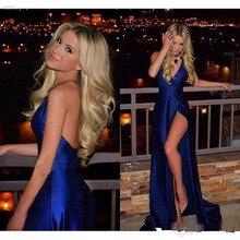 Royal Blue Pleats Satin Backless Evening Dress Deep V Neck Prom Dresses robe de soiree Long High Side Slit Formal dress Pageant недорого