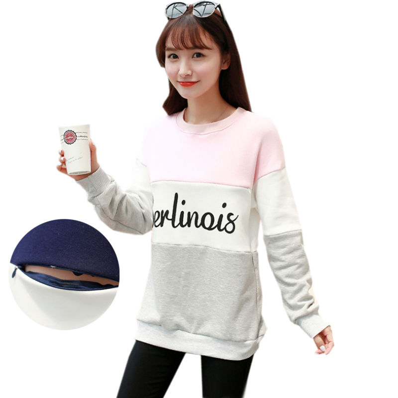 Winter Fleece Warm Nursing Sweatshirt Breastfeeding Tops Plus Size Color Contrast Casual Pregnancy Clothes for Pregnant Women цена 2017