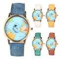 1 unid las mujeres y hombres reloj reloj Unisex reloj de Pulsera de Cuarzo de La Vendimia Mapa del mundo Avión correa Dial redondo Reloj Analógico Casual tela X3