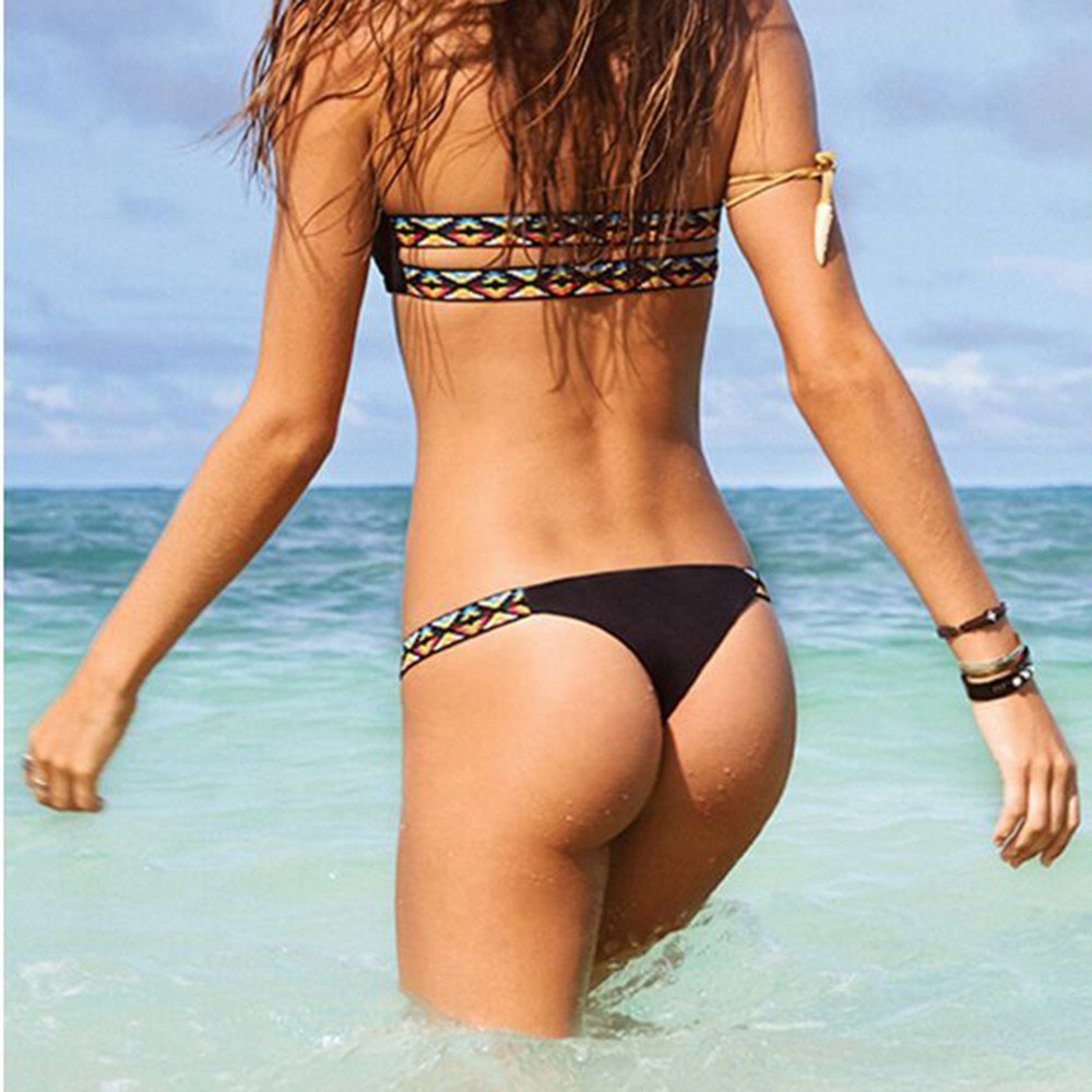 96ab641db9c3 New Arrival Black Floral Thong Bikini Beach Padded Low Waist Swimwears Sexy  Brazilian Swimsuit Bathing Bikini Set For Women-in Bikinis Set from Sports  ...