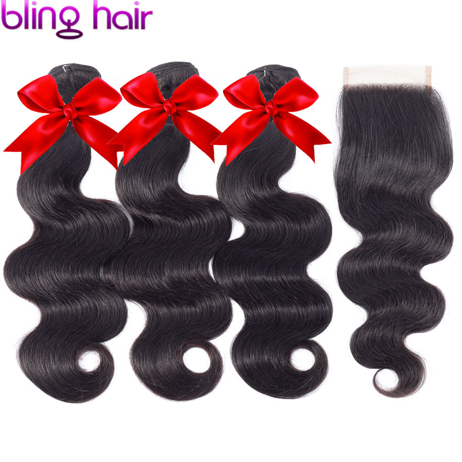 bling hair Brazilian Hair Body Wave Bundles With 5x5 Closure Remy Human Hair Bundles with Lace Closure Free Middle Three Part-in 3/4 Bundles with Closure from Hair Extensions & Wigs    1