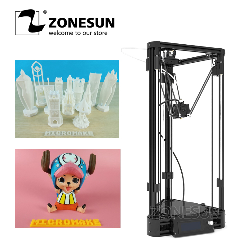 ZONESUN 3D Printer Full Self-assembly Delta 3D Printer Kossel Linear Guide Rail Printer Version DIY Kit 3d-printer 3d-metal Kit new design diy tronxy x3l 3d printer bowden extruder diy kit 3d printer self assembly