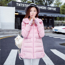 2017 new women's winter coat jacket and long sections Korean Slim Hooded thicker end fashion cuff (cuffs of gloves)