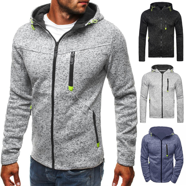 LeeLion 2018 New Hoodies Men Fleece Sweatshirts Autumn Winter Cotton Sportswear Fashion Solid Zipper Slim Male Tracksuit Jackets