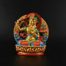 11.5cm Delicate Resin Hand Plated Buddhist Suppliers Bodhisattva Manjusri Tibetan Figure Buddha Auspicious Handle Small Statue