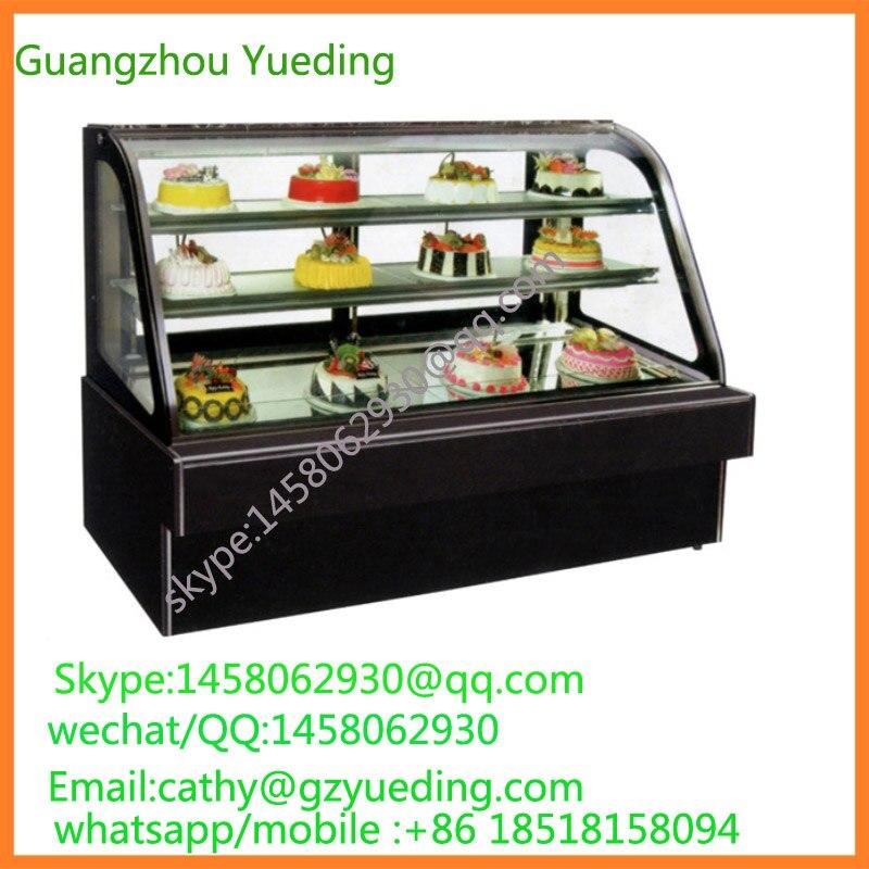 Directement prix usine 1.2 m Commercial debout libre verre moderne gâteau vitrine prix/gâteau congélateur/verre gâteau vitrine