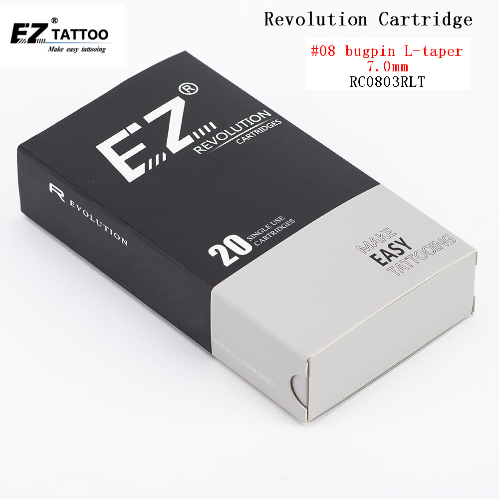 EZ Revolution Tattoo Needle Cartridge Round Liner #08 0.25mm Super Tight L-Taper 7.0mm Safety Membrane Inside 20PCS/Box