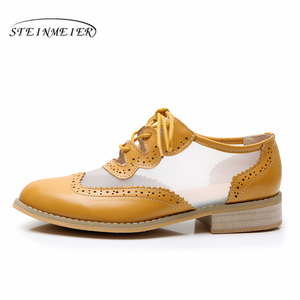 Image 2 - Women Genuine leather flats oxford shoes for women vintage plus size lady flats oxfords shoes woman loafers sneakers 2020 summer