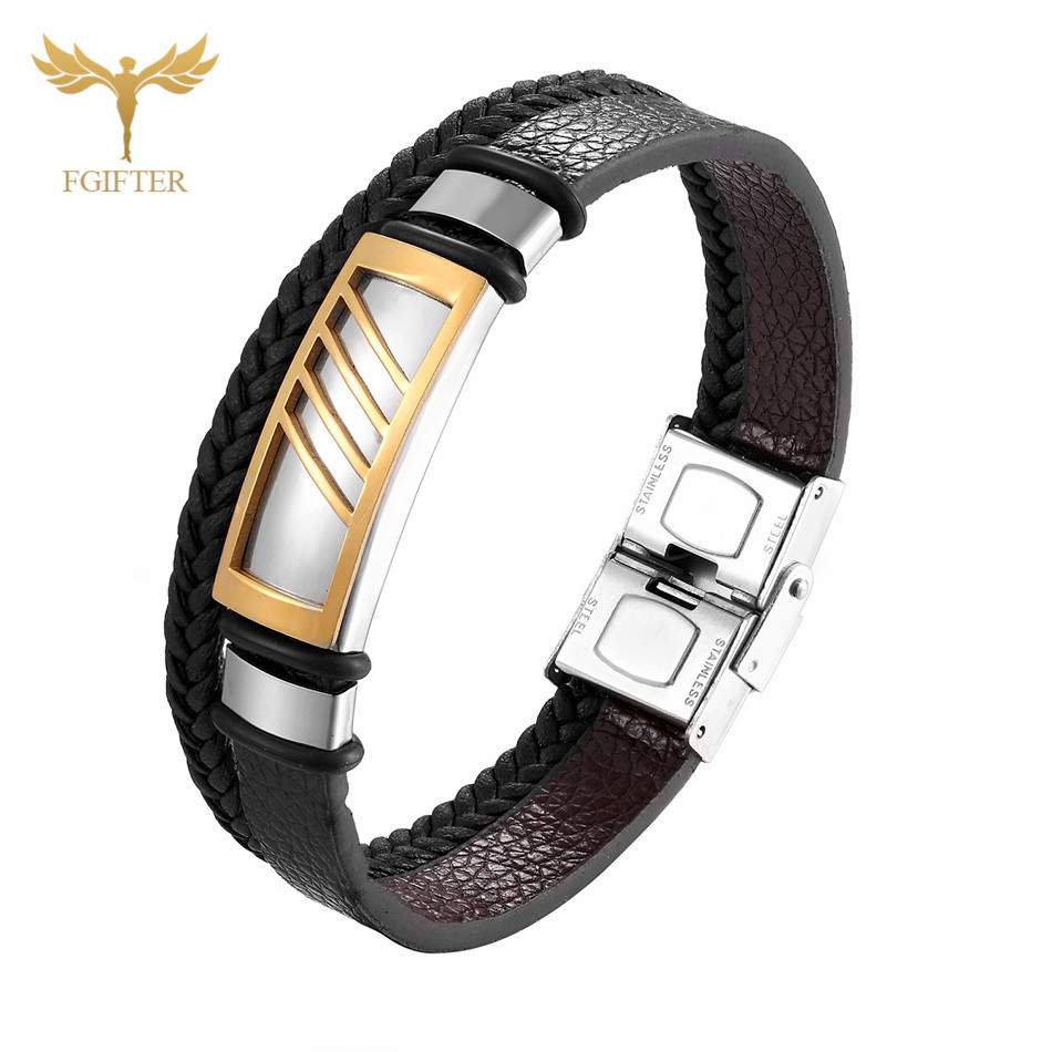 Fashion Charm Bracelet Gold Black Geometric Stainless Steel Accessory Multi Layer Leather Bracelets Bangles for Women Men in Charm Bracelets from Jewelry Accessories
