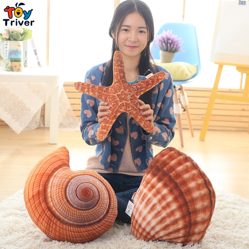 Simulation Creative Plush Toy Conch Shell Starfish Staffed Stuffed Marine Ocean Animal Cushion Dolls Kids Children Gift Decor