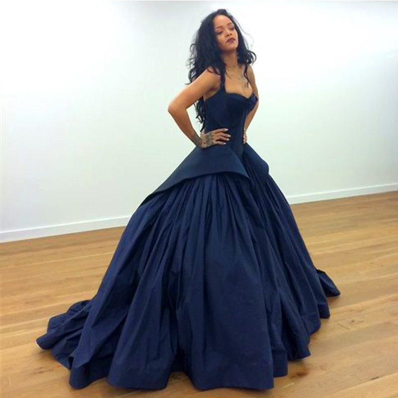 New Arrival Rihanna Ball Gown Navy Blue Bridal Gowns Formal 2017 ...