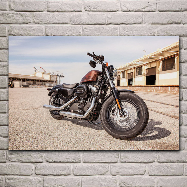 US $7.67 36% OFF|custom bike cool motorbike motorcycle living room  decoration home wall art decor wood frame fabric poster KA237 -in Painting  & ...
