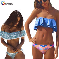 BANDEA Bikini Set 2017 Women Sexy Swimwear Bandeau Ruffle Vintage Swimsuit Brazilian Off Shoulder Biquini Maillot