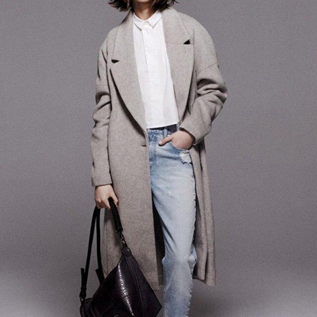 2016 New Design Winter Women Grey Wool Coat European Fashion Long ...