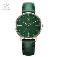 Shengke пояса из натуральной кожи для женщин часы Элитный бренд кварцевые модные женские часы Montre Femme Relogio feminino