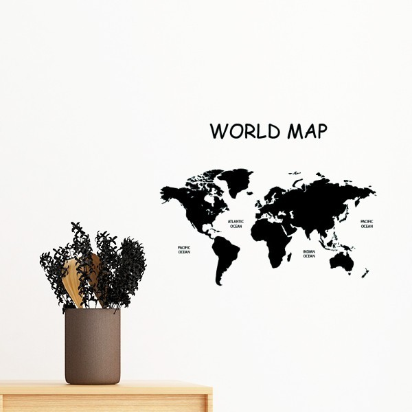 five continents world map australia asian europe america removable