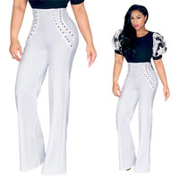 Fashion Women Elegant OL High Waist Wide Leg Long Flare Pants Palazzo Lace-up Criss-cross Loose Pants Capris Rompers Trousers