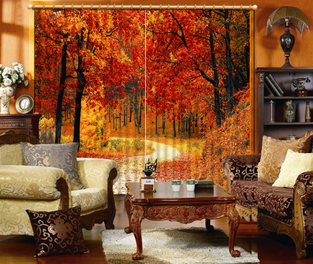 Photo Curtain For Living room red leaf Bedroom Curtain Modern fashion Curtains For Children Custom size