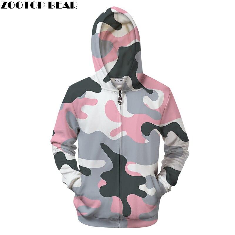 Pink Camo 3D Zipper Hoodie Men S Clothing Women Zip Sweatshirt Casual Tracksuit Groot Hoody Pullover Coat Drop ship ZOOTOP BEAR
