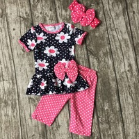 Baby Girls Summer Outfit Baby Daisy Floral Clothes Cotton Hot Pink Polka Dot Boutique Capri Clothes