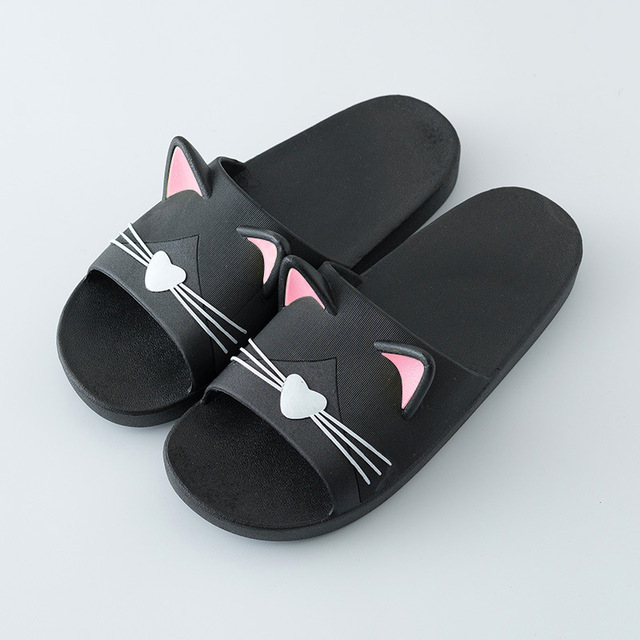 2019 Summer Women Slippers Cute Cartoon Cat Ladies Indoor Bathroom Animal Slipper Couples Slides Designer Flip Flops Soft Shoes