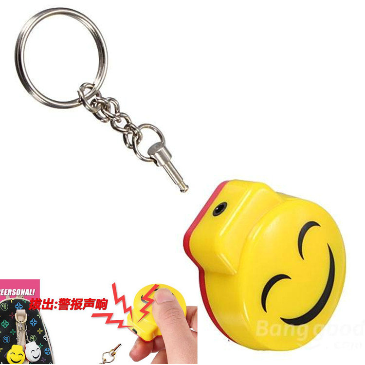 Self-defense Pull-line Anti-theft Personal Protection Portable Alarm Smile Cartoon Keychain Alarm For Elder Women Children Safe