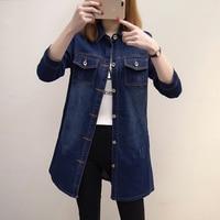 2017 New Women Casual Long Sleeve Long Jeans Dress Female Denim Cardigan Blouse Dress Plus Size