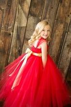 Детская одежда Девушки одеваются Красный Рождество платье выполнения vestidos/Высокого класса марли Сетки платье Принцессы костюм На Заказ