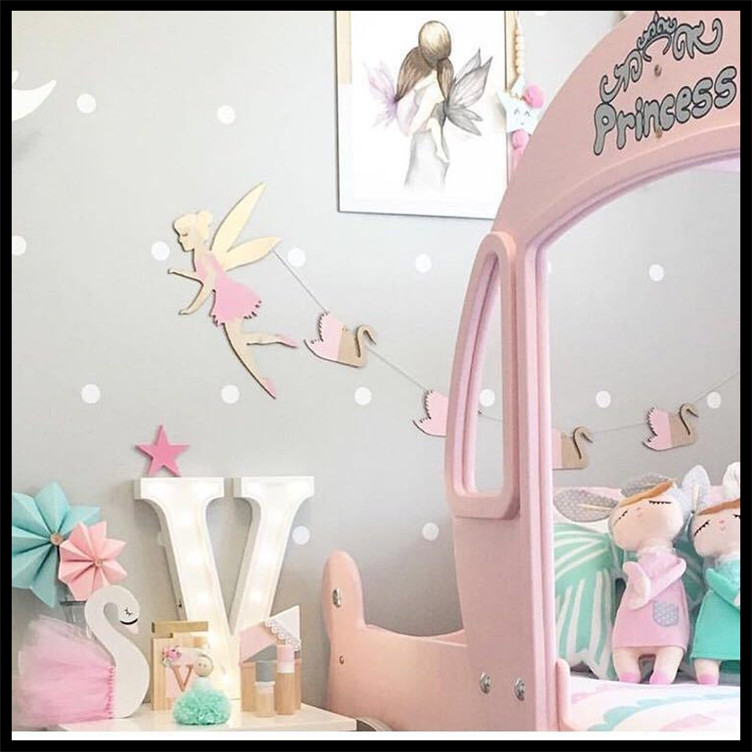 Ins 10pcs Set Woodchips Baby Room Decoration Accessories Wooden Swan Butterfly Leaves Diy Wood Banner