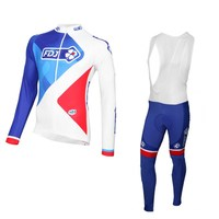 2017 Spring Autumn Pro Team FDJ Cycling Jersey And Bib Pants Blue Ropa Ciclismo Breathable Maillot