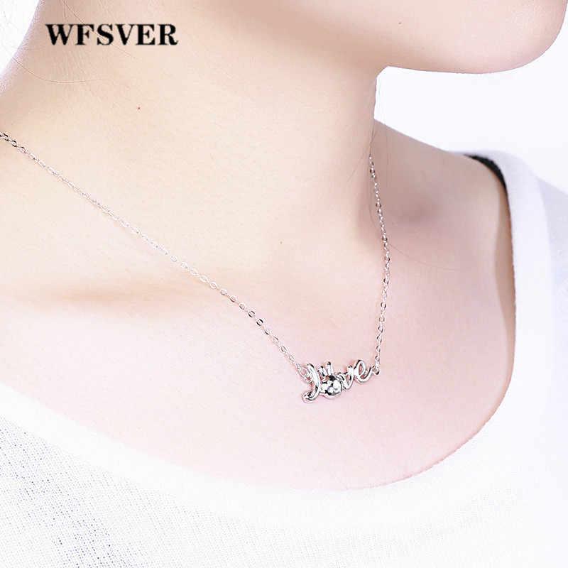 WFSVER femmes 925 bijoux en argent Sterling collier lettre amour forme pendentif avec cristal blanc collier femme bijoux de mode