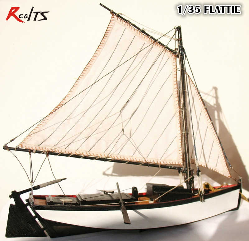 "RealTS Classic wooden sailing boat assembled set of material the Mini ""FLATTIE"" sail boat model Aficionados 1/35 scale"
