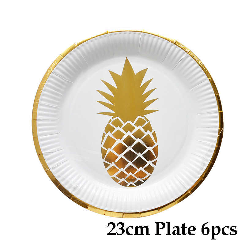 53 шт./компл. ананас вечерние одноразовые столовые приборы позолоченный бумажный стакан с соломинкой тарелки в виде ананаса, настольный декор, товары для дня рождения