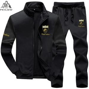 PEILOW زائد حجم 7XL 8XL 9XL العلامة التجارية الرجال مجموعة الأزياء الرياضية دعوى البلوز + Sweatpants ملابس رجالي ضئيلة الذكور رياضية مقنعين