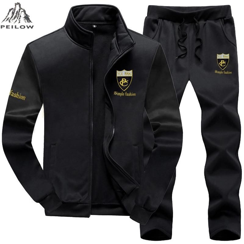 PEILOW Plus Size 7XL 8XL 9XL Brand Men Set Fashion Sporting Suit Sweatshirt +Sweatpants Mens Clothing Slim Male Tracksuit Hooded