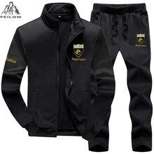PEILOW talla grande 7XL 8XL 9XL marca hombres conjunto moda traje deportivo sudadera + pantalones de chándal ropa para hombre chándal Delgado con capucha