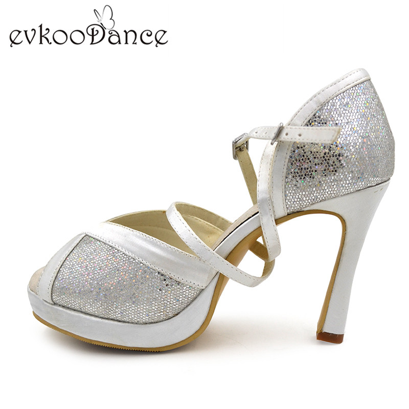New Style Size US 4-12 White silver Glitter Zapatos De Baile Latino 10cm heel with Platform Latin dance Shoes for Women NL119 цена