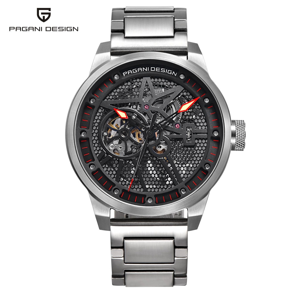 PAGANI DESIGN Fashion Stainless Steel Men's Watch Skeleton Automatic Self-Wind Mechanical Wristwatches Business Relogio PD-1625