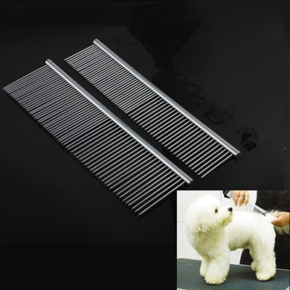 US $4 49 6% OFF|1 X Pet Dog Stainless Steel Grooming Hair Comb Tool Poodle  Finishing Comb Butter -in Dog Accessories from Home & Garden on