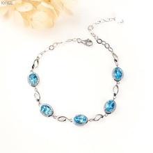 лучшая цена gemstone jewelry factory  elegant ladies 925 sterling silver natural blue topaz adjustable beaded bracelet