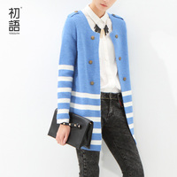 Toyouth Modern 2015 Newest Women S Sweater Striped Mid Length Knitted Cardigan Long Sleeve Sweater Top