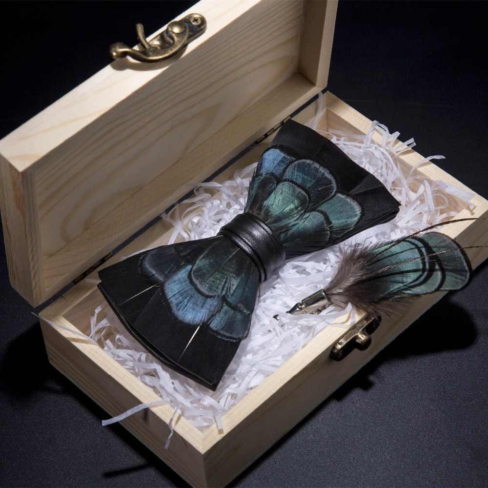 Jerman Desain Asli Dasi Bulu Alami Buatan Tangan Dasi Kupu-kupu Bros Pin Kayu Kotak Hadiah Set untuk Pria Pesta Pernikahan dasi Kupu-kupu