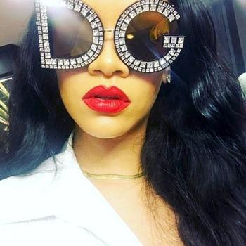 Fashion Crystal Diamond Round Sunglasses Women Luxury Brand Plastic Oversized Sun glasses Vintage Shades Ladies Oculos Top