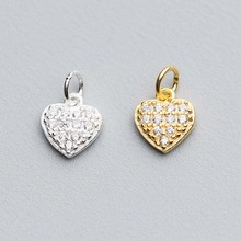 100% 925 Sterling Silver Dangle Charms Heart Moon Star Zircon High Quality Gold Silver Color Pendant