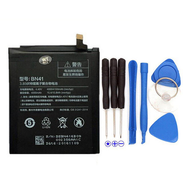 2017 New For Xiaomi Redmi Note 4 BN41 Battery Compatible For Xiaomi Redmi Note 4 Prime Batteries 4000mAh With Tool