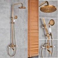Античная латунь смеситель для душа набор для душа смесителя Дождь 8 латунь душем регулируемая высота душ системы с handshower